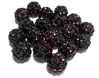 10pcs Dark Amethyst Purple Polymer Clay Rhinestone Beads Pave Disco Ball Beads - Grade AAA 10mm