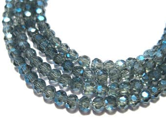 1 Strand Electroplate Gray AB Faceted Round Glass Beads 3mm (No.159)