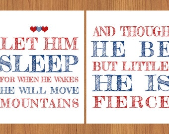 Let Him Sleep, For When He Wakes, Move Mountains, He Be But Little He is Fierce Nursery Wall Art Navy Blue Brick Red 8x10 Prints (30)