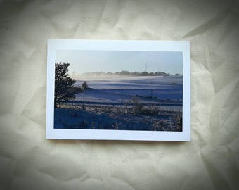 Frosted Farmland Landscape Art Photographic Cards - Winter Snow Woodland Photograph Greeting Christmas Card - Made to order