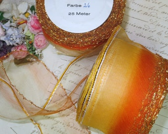 1y FRENCH ORGANZA OMBRE Orange Ribbon Gold Metal Lettuce Edge Ribbonwork Trim Flower Cocarde Organdy Silk Wedding Millinery Hat Rose Rosette