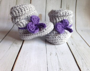 Slouchy Crocheted Baby Booties Boots - Newborn Girl