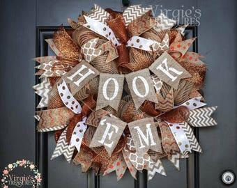 Texas Longhorns Wreath, Hook 'Em Wreath, Longhorns, Deco Mesh Wreath, Alumni, Graduation