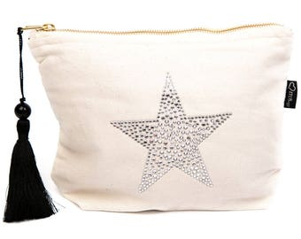 Cream Canvas Rhinestone Star Bag, Cosmetic Bag, Toiletries Bag, Make-up Bag, Zipper Bag