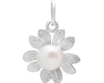 Flower five-leaved beads pendant silver pendant 925 Silver Pearl pendant Pearl (No. PAS-16)