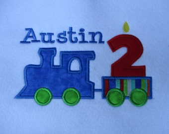 Boy's Birthday Shirt, Birthday Train applique with number and name