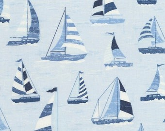 Sailboat Fabric Fat Quarter, Third Yard, Half Yard, or By-The-Yard; C4740; Novelty Fabric; Timeless Treasures; Lake Themed; Lake House Rules
