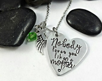 Nobody loves you like a mother necklace, mom necklace, mother jewelry, gift for her, heart necklace, love necklace, mother jewelry, mother
