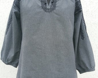 Grey Vintage Ethnographic Peasant  Blouse  Embroidered  Blouse Medium/Large Size