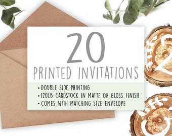 Professional Printing of your Invitations • 20 Invitations • Includes Envelope