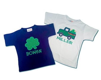 Boy Brothers Sibling St Patrick's Day Shamrock Shirts with Names