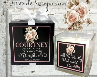 PERSONALIZED Will You Be My Bridesmaid Will You Be My Matron Of Honor, Maid of Honor Scented Candle with matching gift box and ribbon