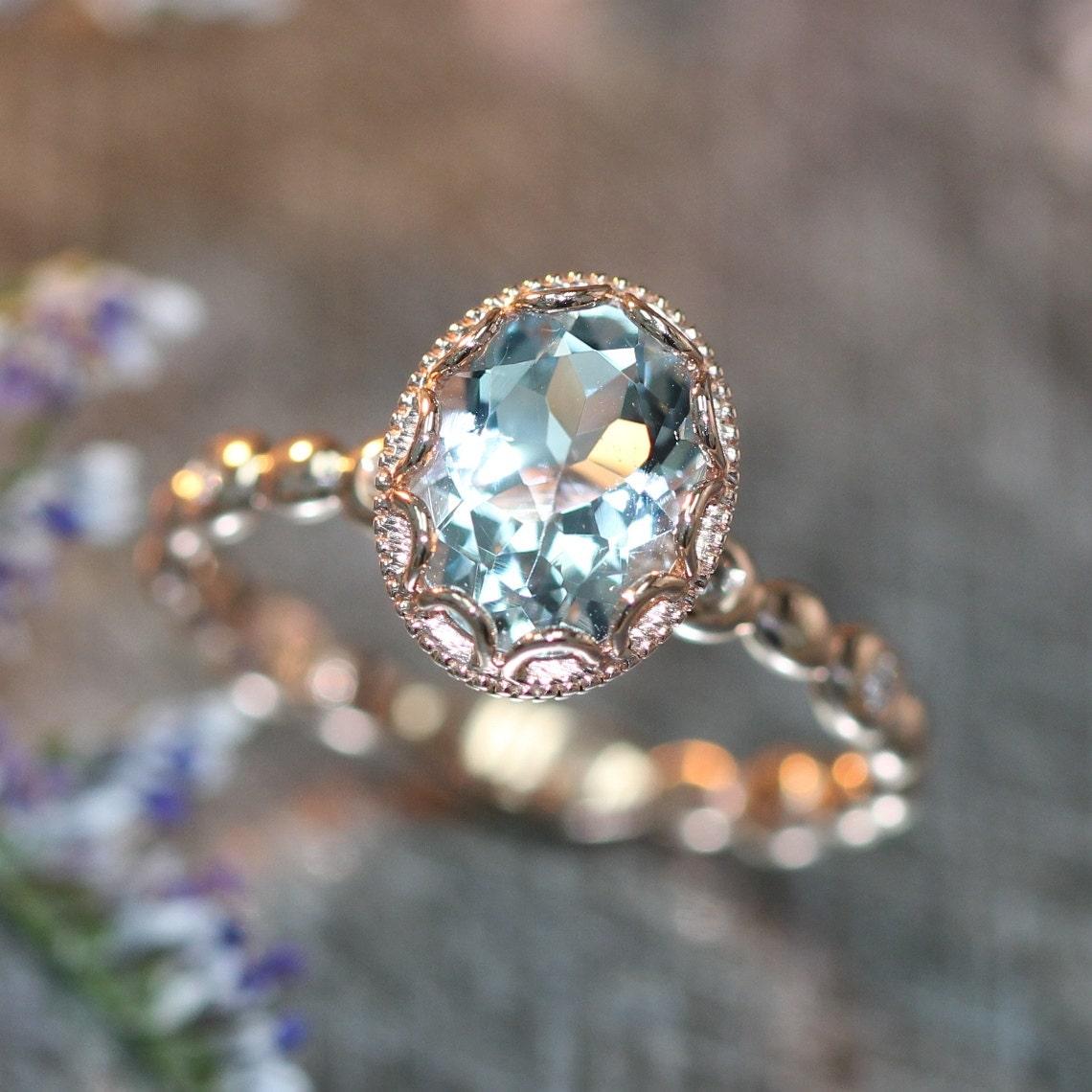 Wedding Rings Flowers: Floral Aquamarine Engagement Ring In 14k Rose Gold Pebble