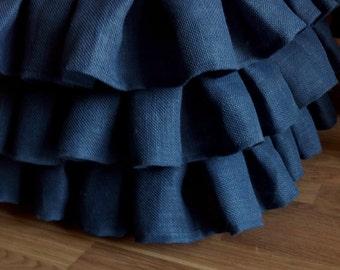 Ruffled Colored Burlap Bedskirt - Ruffled Bed Skirt - Rustic Bedskirt - Bedding - Bedskirt - Burlap Valance - King Size - Choose Drop