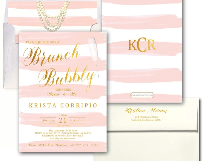 Blush Pink Gold Brunch and Bubbly Invitation // Pink Stripes / Watercolor / Gold Foil / Wedding / Bridal Shower / SANTA BARBARA COLLECTION