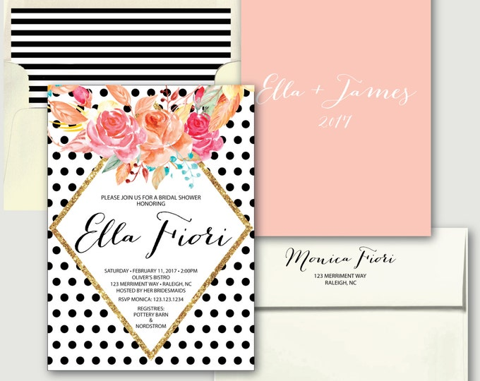 Black Polka Dot Bridal Shower Invitation // Bridal Shower Invitation // black and white // blush pink // gold glitter // RALEIGH COLLECTION