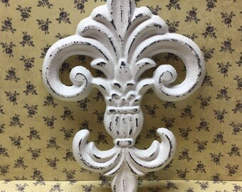 Cast Iron Fleur De Lis  Shabby Chic Bright White FDL Style Swirls French Paris Wall Porch Patio Garden Kitchen Bedroom Livingroom Home Decor