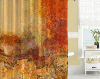 Abstract shower curtain contemporary bathroom decor red and for Orange and brown bathroom ideas