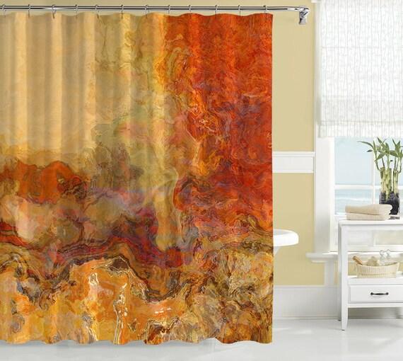 Abstract shower curtain contemporary bathroom decor for Orange and brown bathroom ideas