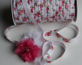 "5/8"" Fold Over Elastic FOE White Floral"