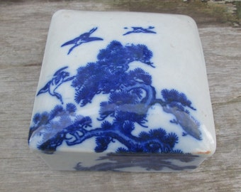 Flow Blue Asian Motif  Porcelain Trinket Box, Keepsake Jewelry Night Table