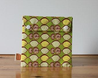 Reusable sandwich bag, reusable snack bag, fabric bag with Retro lemons print [#121], eco friendly, no waste lunch box, ProCare, food safe!