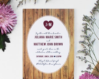 Rustic Wedding Invitation - Customizable & Printable File