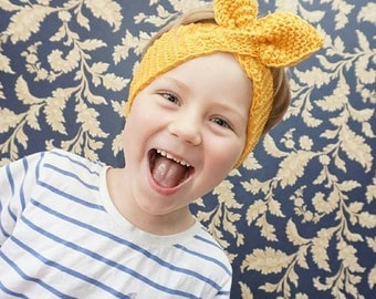 Knitting pattern// Retro bow knit headband Baby, Toddler, Adult Sizes