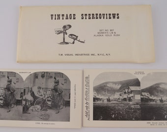 Vintage Stereoviews 18 Stereoscope Cards Women's Lib Alaska Gold Rush 1980 Reprints T.M. Visuals Industries Set no. 807 FREE SHIPPING