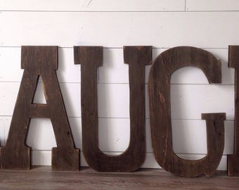 Barn Wood Letters measuring 24 inches tall,Distressed, stained,  barn wood letters, rustic letters, rustic decor, rustic letter,LAUGH