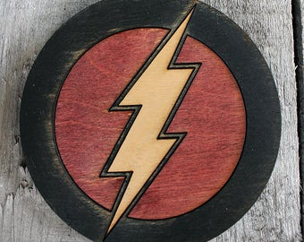 The Flash Wood Coaster   Rustic/Vintage   Hand Stained and Glued   Comic Book Gift   Justice League