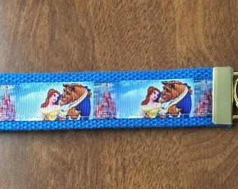 Beauty and the Beast Key Chain Wristlet Zipper Pull
