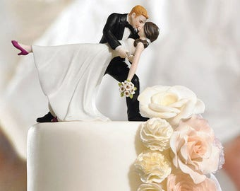 A Romantic Dip Dancing Bride And Groom Couple Figurine - Wedding Cake Toppers - Choose your hair color  WS9209