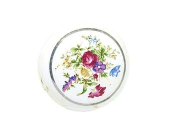 Porcelain Cottage Chic Door Knob   Vintage Decor Hand Painted Colorful Floral Design   Cabinet Pulls