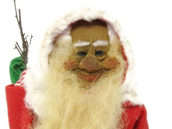 Primitive Antique Old German Santa / Vtg Christmas Dwarf / Santa Clause SHEEP WOOL / Berlin Santa Doll Unique Gift Christmas Gift Mom Teen
