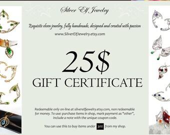 25 Gift Certificate - Instant download, Last minute gift, Gift Voucher, Exquisite elven jewelry