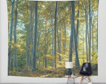 SALE wall tapestry, oversized wall art, forest tapestry, tree tapestry, bohemian wall tapestry, nature tapestry, trees, yellow tapestry