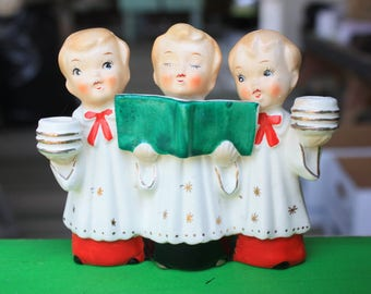 Vintage Commodore Christmas Choir Boy Trio Candle Holder Japan 50s Mid Century Figurines Collectibles Decorations