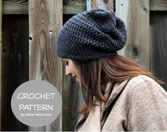 Crochet hat pattern - slouchy crochet beanie, PDF Instant Download Crochet Pattern, worsted weight crochet hat pattern, DIY pattern,  #1275