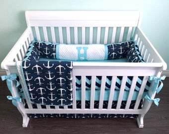 Nautical Navy, Aqua & White Anchor crib bedding set with bumper, blanket, crib skirt, sheet, changing pad cover