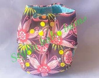 One size girls aio all in one cloth diaper flowers- FREE SHIPPING