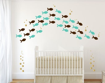 Sea Creature Decal - Kids Bathroom Decals - 72 Fish Wall Decals - School Of Fish Decals - Under The Sea Wall Decals - Nautical Decals
