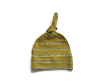 Bamboo Newborn hat, hospital hat, knot hat, pear with heather gray stripe  READY TO SHIP!!