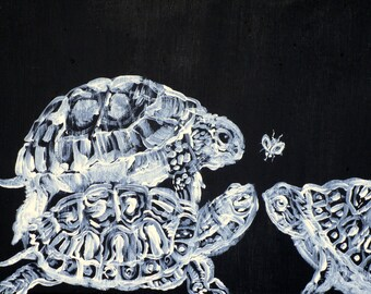 THREE TERRAPINS and one FLY - original acrylic painting - one of a kind!