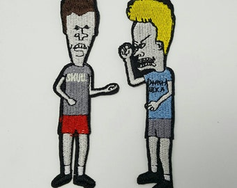Beavis and Butthead embroidered iron on patch - SET