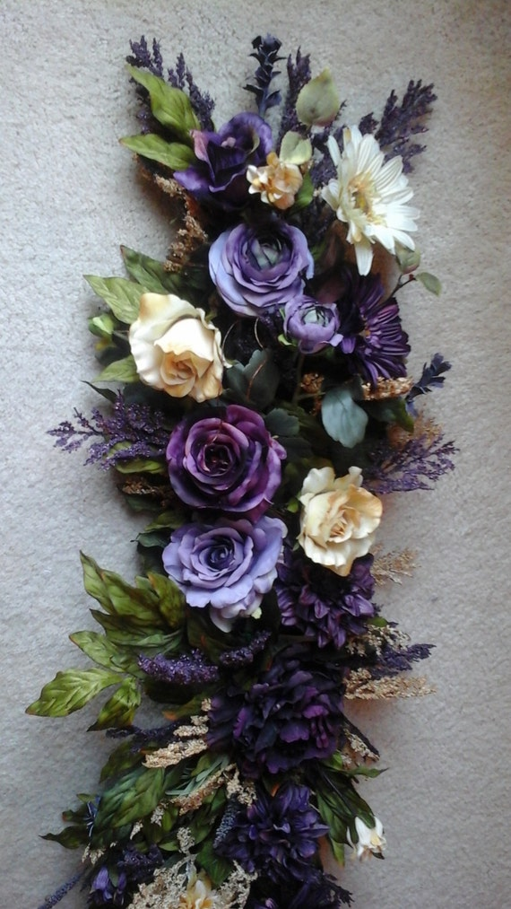 Floral Swag Silk Floral Wall Arrangement SHIPPING INCLUDED