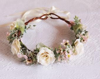 Ivory roses and Pink flowers Flower Crown/ beauty, spring, summer, leaves, hair, angel, wedding