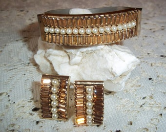 Vintage LERU Demi Parure Hinged Bracelet and Earrings with Topaz Baguettes and Faux Pearls Designer Costume Jewelry Set Hollywood Regency