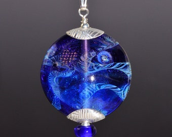 Silver Capped  Glass Focal Bead