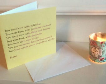 Confidence Greeting Card - Rumi Quotation